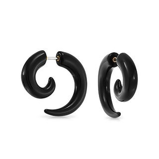 Bling Jewelry Fake Taper Black Acrylic Spiral Earrings 316L Steel 16G