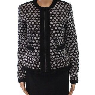 Karl Lagerfeld NEW Black Womens Size 4 Full Zip Fringe Detail Jacket