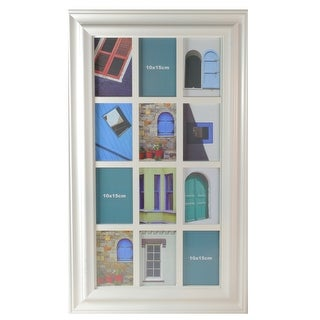 "29"" White Weathered Windowpane Collage Picture Frame - 4-inchx6-inch"