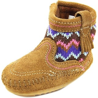 Minnetonka Sweater Bootie Infant Round Toe Suede Brown Ankle Boot