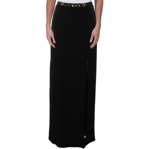 Speechless Womens Juniors Maxi Skirt Lace Trim Sheath - Black/Nude - 5