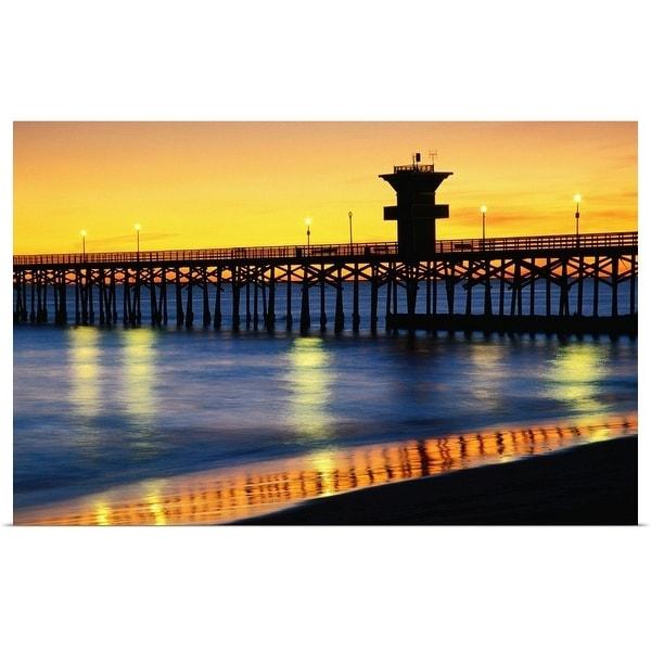 """Seal Beach Pier at sunset"" Poster Print"