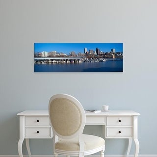 Easy Art Prints Panoramic Images's 'Memphis, TN skyline from Mississippi River with marina in foreground' Canvas Art