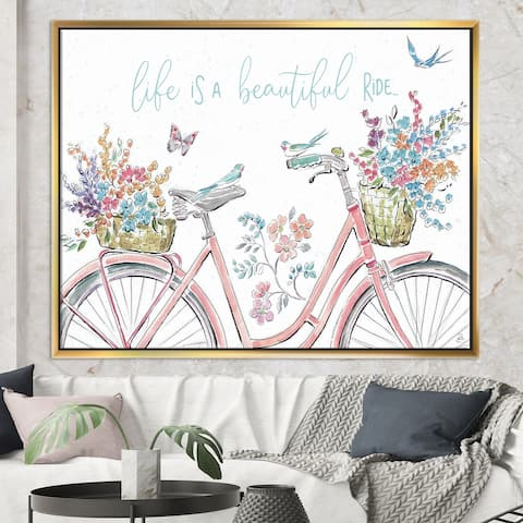 Designart 'Spring Bike Bouquet' French Country Framed Canvas - Multi-color