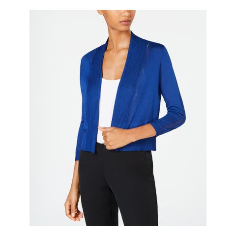ANNE KLEIN Womens Blue 3/4 Sleeve Open Cardigan Crop Top Top Size L