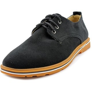 4How Casual Oxfords Men Round Toe Canvas Black Oxford
