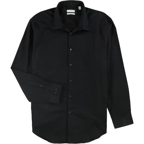 "Calvin Klein Mens Solid Slim Fit Button Up Dress Shirt, black, 18"" Neck 34""-35"" Sleeve - 18"" Neck 34""-35"" Sleeve"