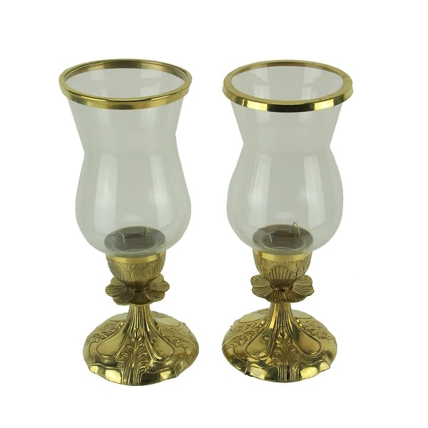 Gold Metal and Glass Ornate Antique Hurricane Candle Stick Holders Set of 2. Opens flyout.