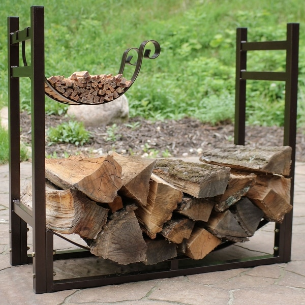 Sunnydaze Bronze Indoor Outdoor Firewood Log Rack With Kindling Holder
