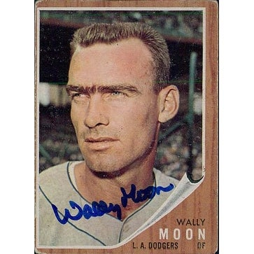 Signed Moon Wally Los Angeles Dodgers 1962 Topps Baseball Card Corner Creases Autographed