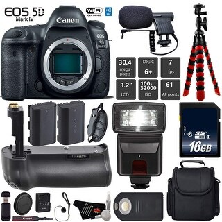 Canon EOS 5D Mark IV DSLR Camera (Body Only) + Tripod + Case + Wrist Strap + Card Reader - Intl Model