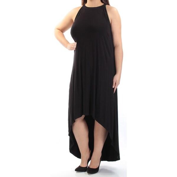 MBLM Womens Black Crew Neck Maxi Hi-Lo Dress Plus Size: 1X