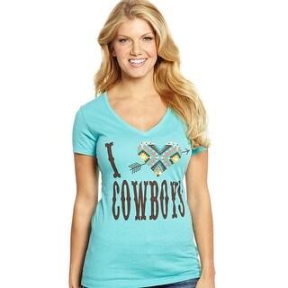Cowgirl Up Shirt Womens V-Neck I Heart Cowboys Print S/S CG1839