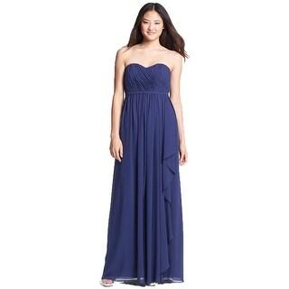 Donna Morgan Lily Strapless Draped Chiffon Dress Midnight Navy 14