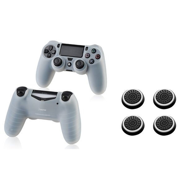 Insten 2-piece Clear Silicone Skin Case/ 4-piece Set White Controller Analog Thumbstick Cap for Sony Playstation 4 PS4