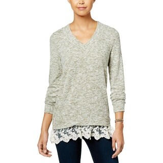 Miss Chievous Womens Juniors Pullover Top Marled Lace-Hem