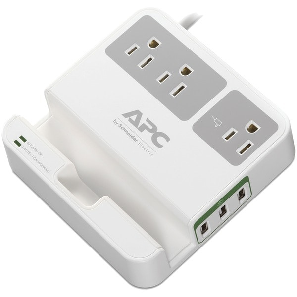 Apc P3U3 3-Outlet Surgearrest(R) Surge Protector With 3 Usb Ports (White)