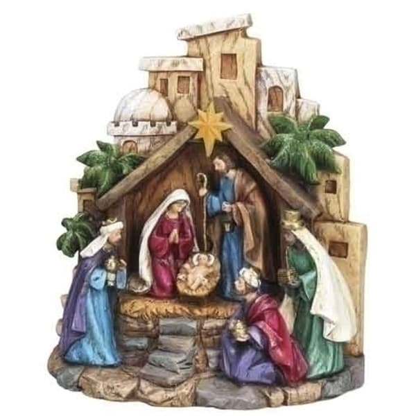 """7.75"""" Inspirational Gifts LED Lighted Religious Christmas Table Top Nativity Scene"""