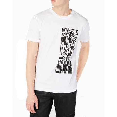 Hugo Boss Mens T-Shirt White Size Large L Graphic QR Code Crewneck