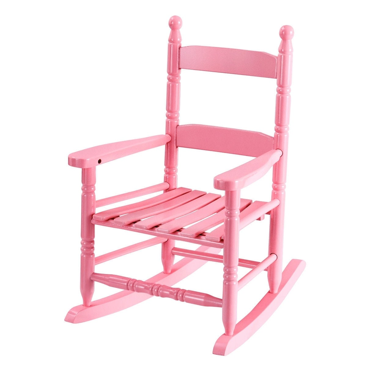 Classic Wooden Children Kids Rocking Chair Slat Back Furniture Bedroom Pink