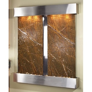 Adagio Cottonwood Falls Wall Fountain Rainforest Brown Marble Stainless Steel -