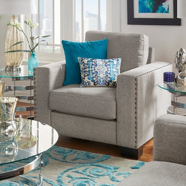 Torrington Linen Nailhead Track Arm Accent Chair by iNSPIRE Q Classic. Opens flyout.