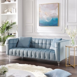 """Link to Isabel Velvet Biscuit Tufted Lucite Leg Sofa - 88"""" x 33.8"""" - 88"""" x 33.8"""" Similar Items in Sofas & Couches"""