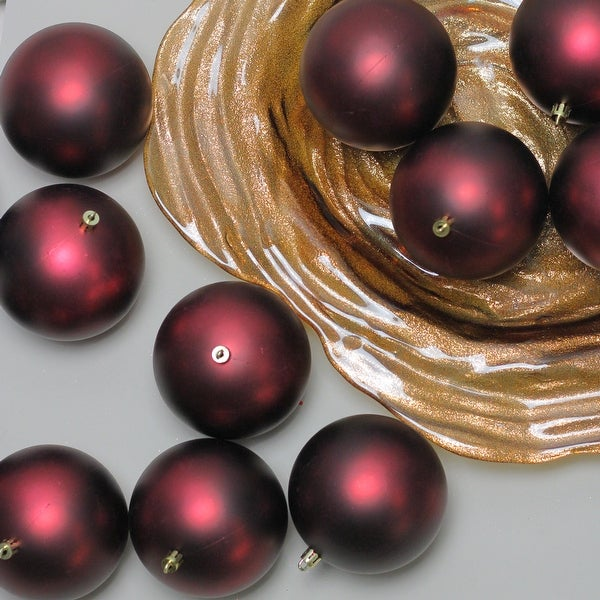 "12ct Burgundy Red Shatterproof Matte Christmas Ball Ornaments 4"" (100mm)"