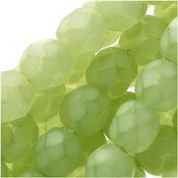 Czech Fire Polished Glass Beads 6mm Round - Matte Light Olive (25)