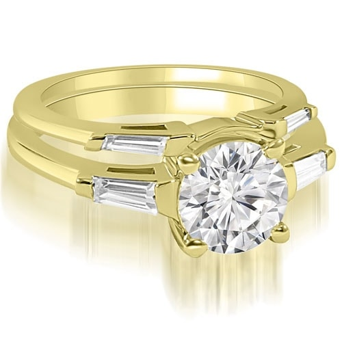 1.05 cttw. 14K Yellow Gold Round Baguette Cut Three Stone Diamond Bridal Set