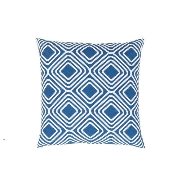 "22"" Navy Blue and White Woven Contemporary Patterned Decorative Throw Pillow"