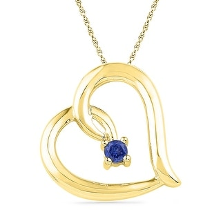Heart Pendant 10K Yellow-gold With Blue CZ and Diamonds 0.125 Ctw By MidwestJewellery - White