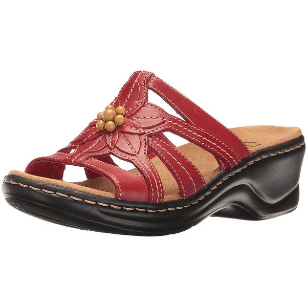 CLARKS Womens LEXI MYRTLE Leather Open Toe Casual Slide Sandals