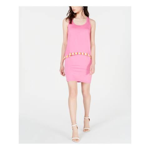 TRINA TURK Pink Sleeveless Above The Knee Sheath Dress Size S