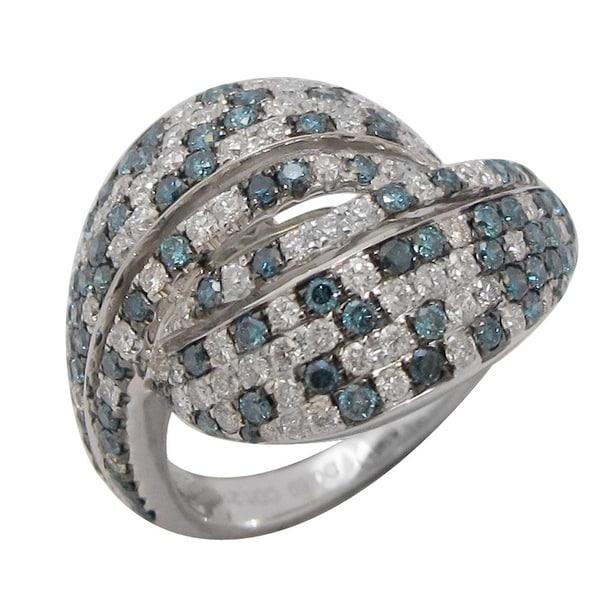 Beautiful Designer Ring With 1.79 Carat Blue & White Diamond, 14k White Gold