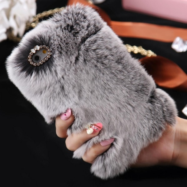 b530d138bd Winter Warm Case For iPhone 6 6S 7 4.7 Plus 5.5 5S SE Bling Diamond Fluffy  Animal Fur Cover Fundas