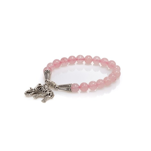 Natural Stone Meditation Stretch Bracelet Tibetan Mala with Good Luck Charm Elephant, Rose