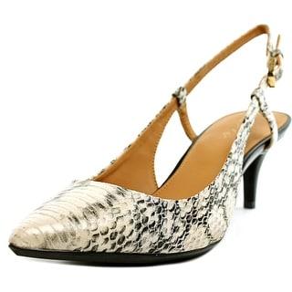 Calvin Klein Patsi Muted Snake Women Patent Leather Tan Slingback Heel