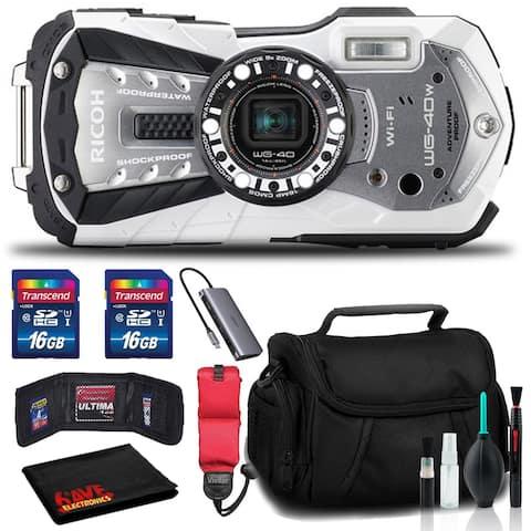 RICOH WG-40W Waterproof Digital Camera with Memory Kit, Float Strap,