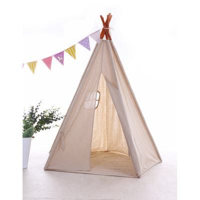 Natural Cotton Canvas Teepee Tent for Kids Indoor & Outdoor Use - 1pc
