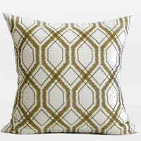 "G Home Collection Luxury Wasabi Green Geometry Pattern Embroidered Pillow 20""X20"""