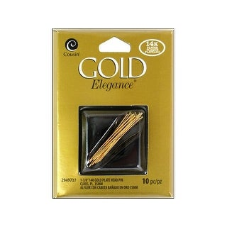 "Cousin 14K Gold Plate Elegance Head Pin 1.25"" 10pc"