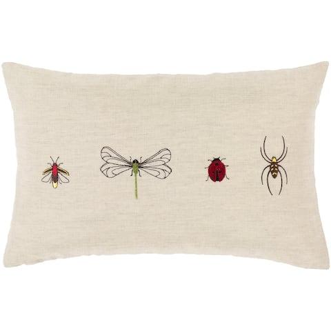Porch & Den Vicki Linen Blend Bug Embroidered Lumbar Pillow