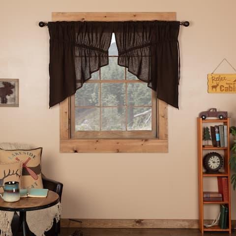 Farmhouse Kitchen Curtains VHC Cotton Burlap Prairie Swag Pair Rod Pocket Solid Color - Prairie Swag 36x36x18