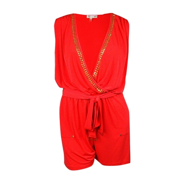 115d84be548 Shop Spense Women s Belted Studded-Trim Jersey Romper - sweet guava - 18W -  Free Shipping On Orders Over  45 - Overstock.com - 14815336