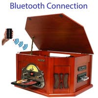 Boytone BT-25CH 8-in-1 Natural Wood Turntable, Bluetooth Connection, AM/FM, CD, Cassette, USB, SD Slot, Remote, MP3 Player