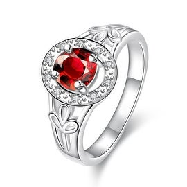 Petite Ruby Red Circular Emblem Ring