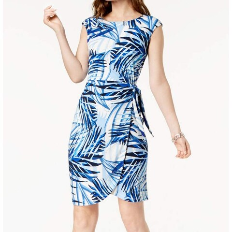 Jessica Howard Blue Women's Size 14 Leaf-Print Side-Tie Sheath Dress