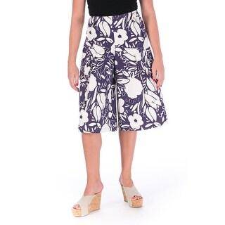 Suno Womens Twill Floral Print Gaucho Pants