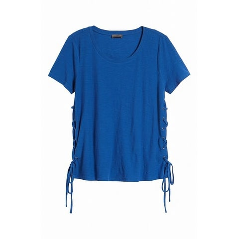 Vince Camuto Blue Womens Size Small S Lace-Up T-Shirt Knit Top